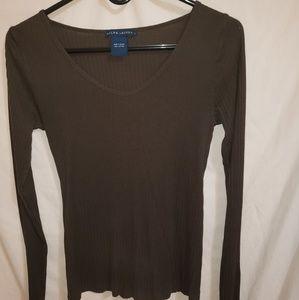 ☆ Ralph Lauren brown thin long sleeve top ☆ Large